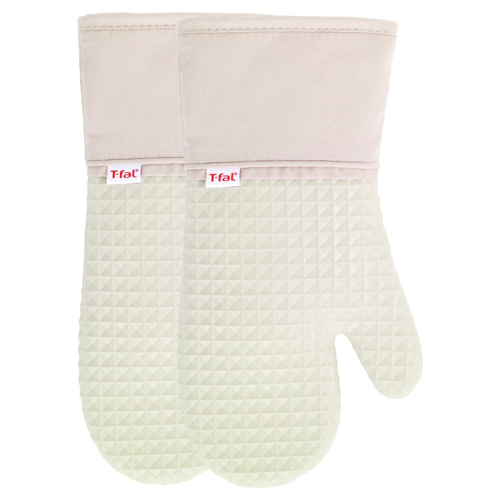 Image of 2pk Tan Waffle Silicone Oven Mitt - T-Fal