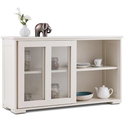 Costway Storage Cabinet Sideboard Buffet Cupboard Glass Sliding Door Pantry Kitchen New White