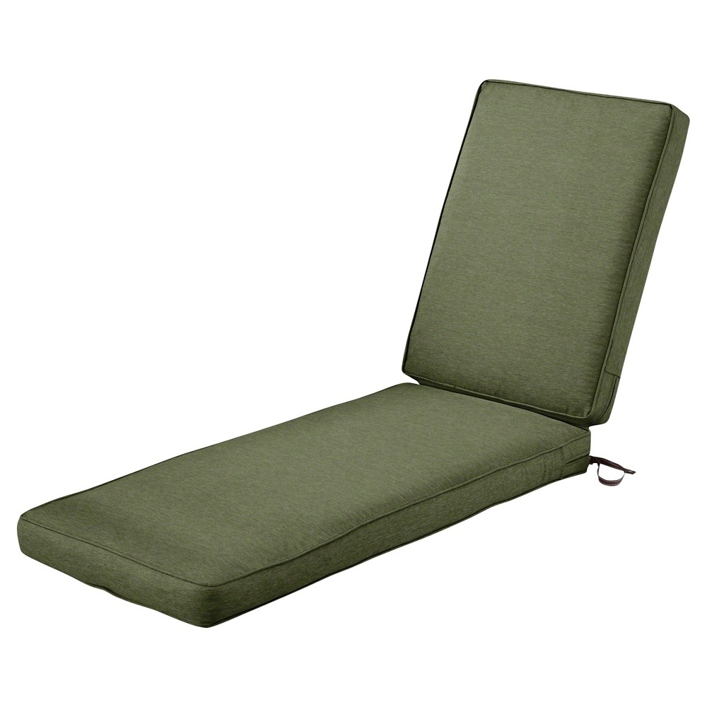 Image of Montlake Fadesafe Patio Chaise Lounge Cushion Set - Heather Fern Green - Classic Accessories