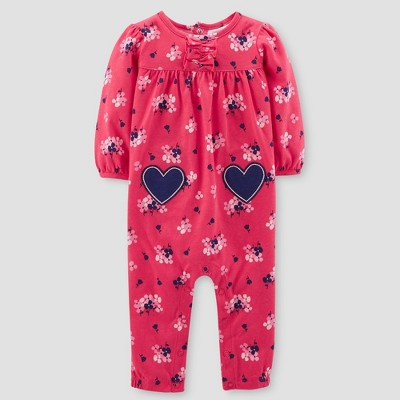 Baby Girls' Floral Jumpsuit - Just One You® made by carter's Red/Navy Newborn