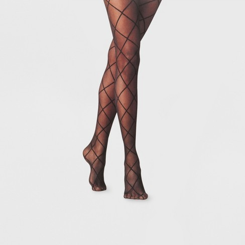 Women's Tights 1PP Diamond Shift Sheer Tights - A New Day™ Black - image 1 of 1