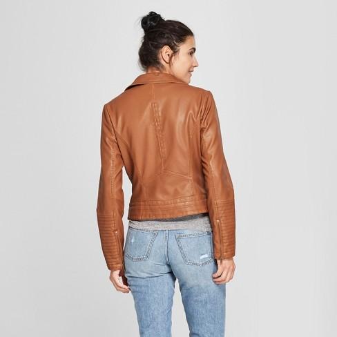 Women S Faux Leather Moto Jacket Universal Thread Brown Xl Target