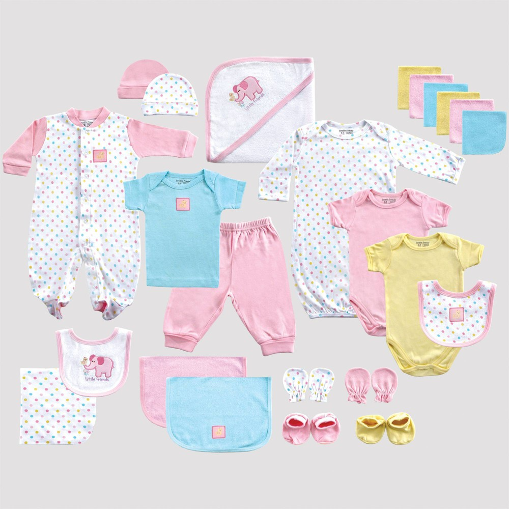 Image of Luvable Friends Baby 24pc Gift Cube Bodysuit - Pink/Green/White 0-6M, Kids Unisex, Green/Pink/White
