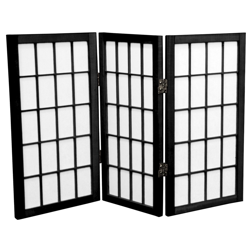 Image of 2 ft. Tall Desktop Window Pane Shoji Screen - Black (3 Panels) - Oriental Furniture