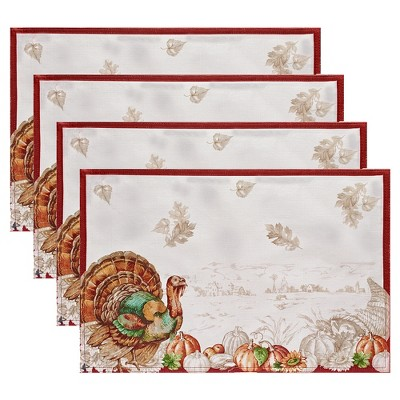"""Holiday Turkey Bordered Fall Placemat, Set of 4 - 13"""" x 19"""" - White/Red - Elrene Home Fashions"""