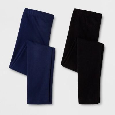 Girls' 2pk Leggings - Cat & Jack™ Navy/Black