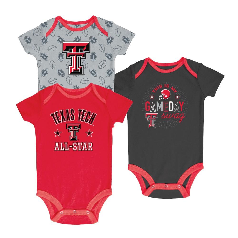 Texas Tech Red Raiders Baby Boy Short Sleeve 3pk Bodysuit - 3-6M, Multicolored