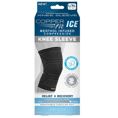 Copper Fit Ice Knee Sleeve Infused with Cooling Action and Menthol - L/XL