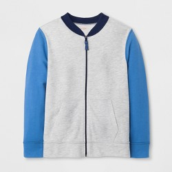 Boys' Adaptive Zip-Up Sweatshirt - Cat & Jack™ Heather Gray/Blue
