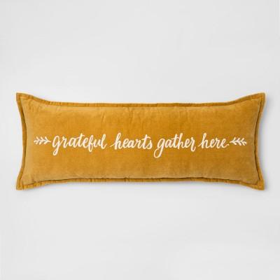 'Grateful Hearts' Embroidered Velvet Oversized Lumbar Throw Pillow Gold - Threshold™