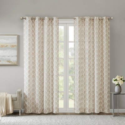 50 x84  Leif Embroidered Sheer Window Curtain Blush