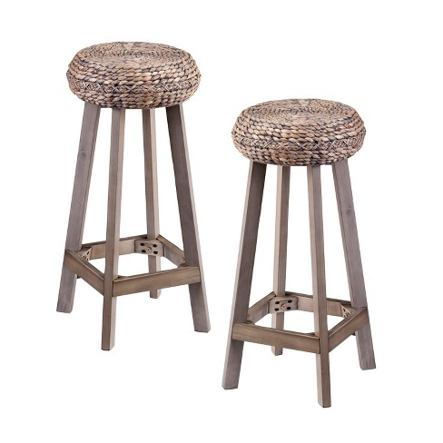 30 Rook Round Backless Water Hyacinth Bar Stools Set Of 2 Brown