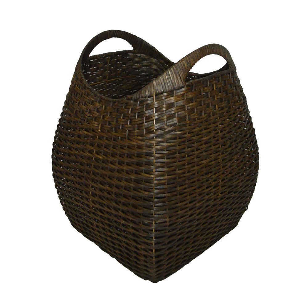 Large Basket with Curved Handle Brown 19.75