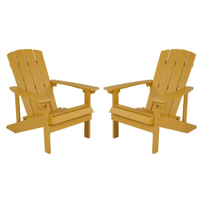 Flash Furniture Set of 2 Charlestown All-Weather Poly Resin Wood Adirondack Chairs
