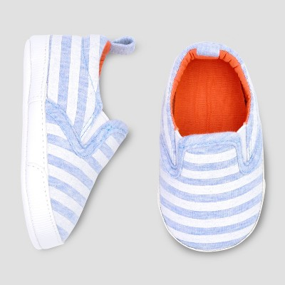 Baby Boys' Stripe Crib Shoes - Just One You® made by carter's Blue 0-3M