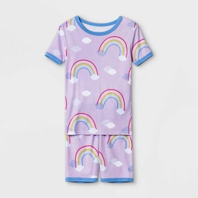 Girls' 2pc Rainbow Print Tight Fit Pajama Set - Cat & Jack™ Purple