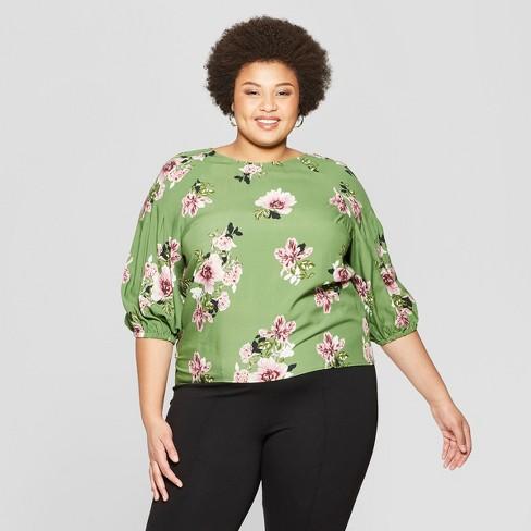 0abdae1c5 Women's Plus Size Floral Print 3/4 Sleeve Pleated Blouse - Ava & Viv™ Green