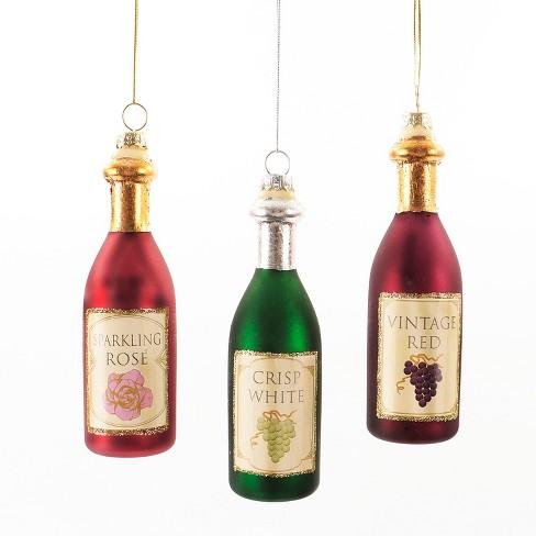 - Glass Wine Bottles Christmas Ornament Set 3ct - Wondershop™ : Target