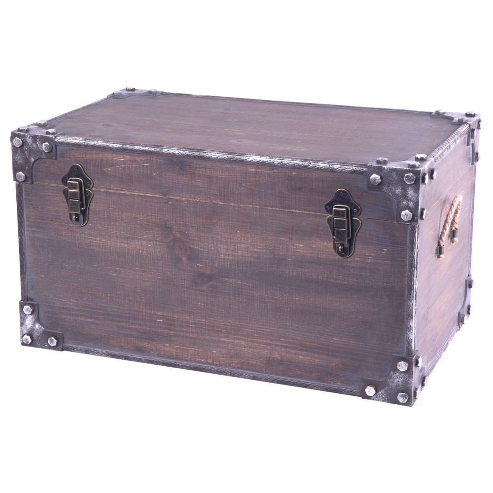 Vintage Industrial Style Decorative Trunk with Lockable Latch Brown - Vintiquewise