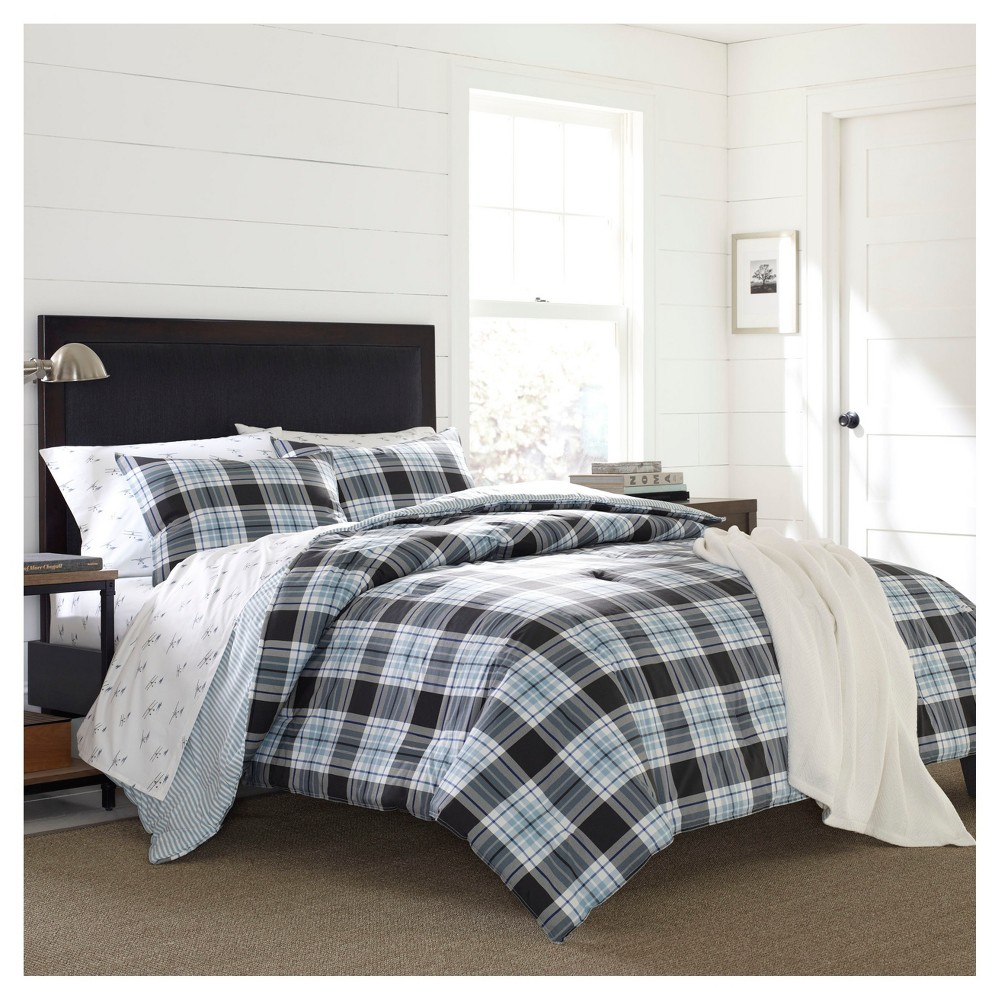 Image of Atlantic Blue Lewis Plaid Duvet Set (King) 3-pc - Eddie Bauer