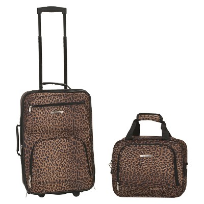 Rockland Rio 2pc Carry On Luggage Set - Leopard