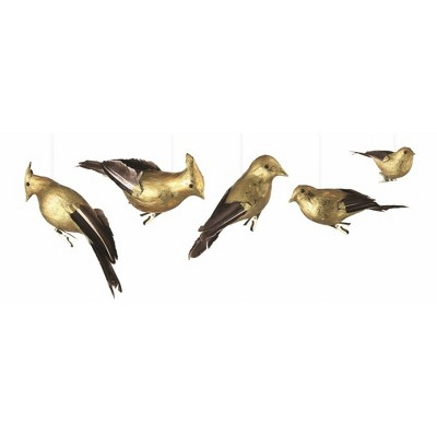 """Napa Home and Garden 5ct Gilded Birds Clip-On Christmas Ornament Set 8.25"""" - Brown/Gold"""