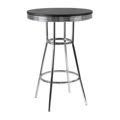 Summit Pub Table Bar Height Wood/Black/Bright Chrome - Winsome