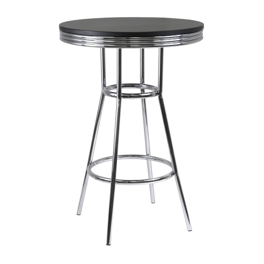 Image of Summit Pub Table Bar Height Wood/Black/Bright Chrome - Winsome