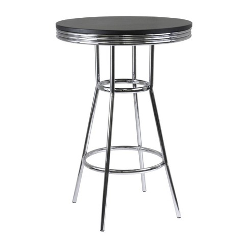 Summit Pub Table Bar Height Wood/Black/Bright Chrome - Winsome - image 1 of 4