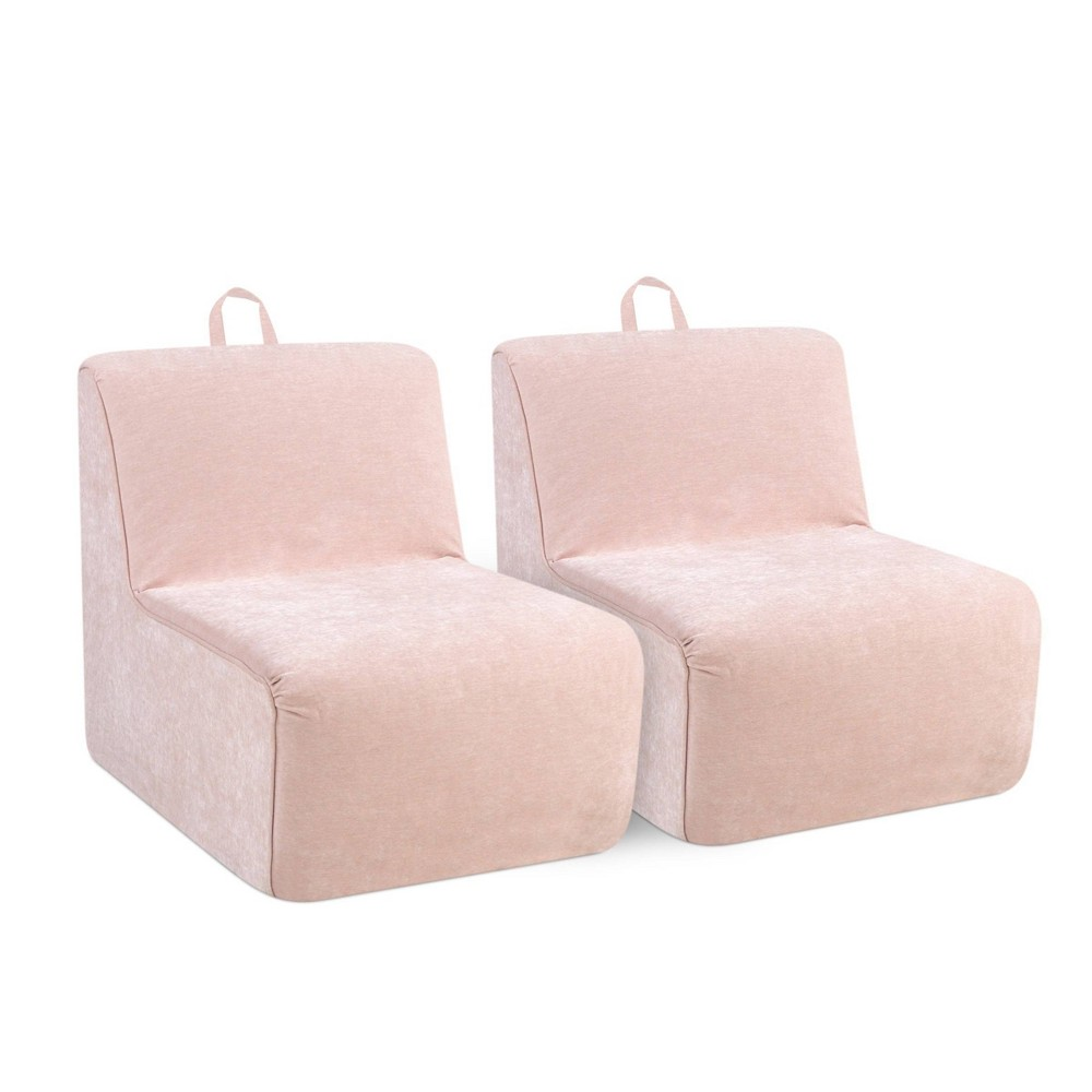 Image of 2pc Tween Foam Chairs with Handles Blush Pink - Kangaroo Trading Company