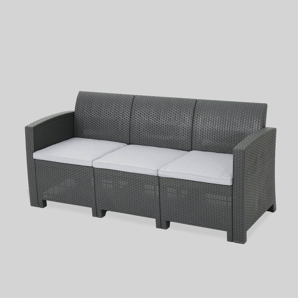 St. Paul Wicker Outdoor Patio Sofa - Gray - Christopher Knight Home