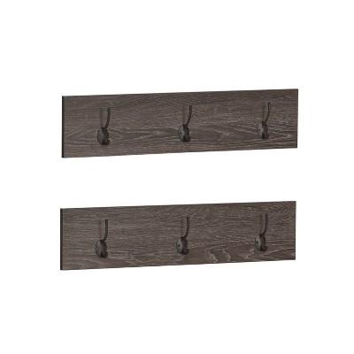 Set of 2 Afton 3 Hook Coat Racks Woodgrain - RiverRidge Home