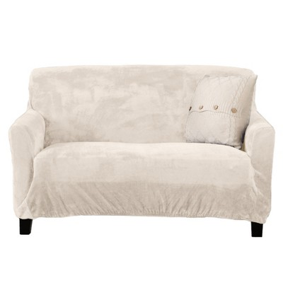 Great Bay Home Stretch Fit Velvet Love Seat Slipcover