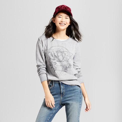 ed41e65f422 Women s Rose Long Sleeve Graphic Sweatshirt - Zoe+Liv (Juniors ) Gray