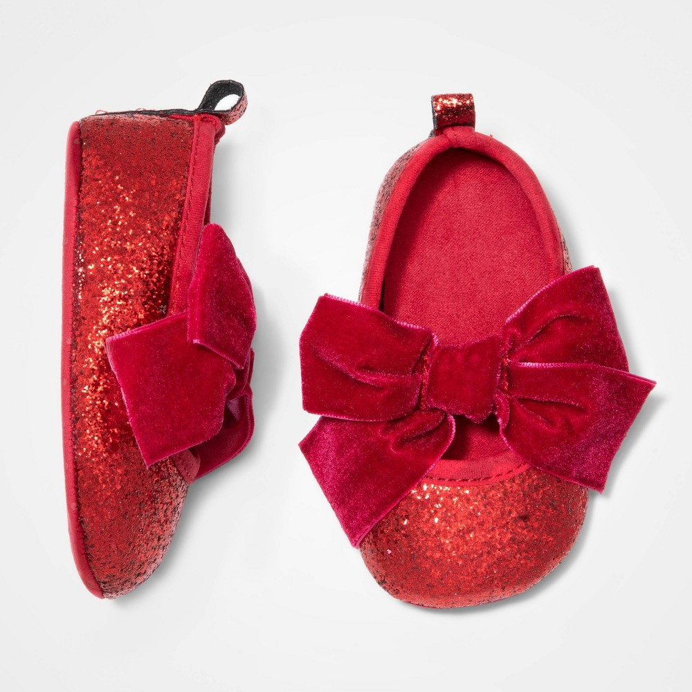 Image of Baby Girls' Mary Jane Glitter Bootie - Cat & Jack Red 0-3M, Girl's