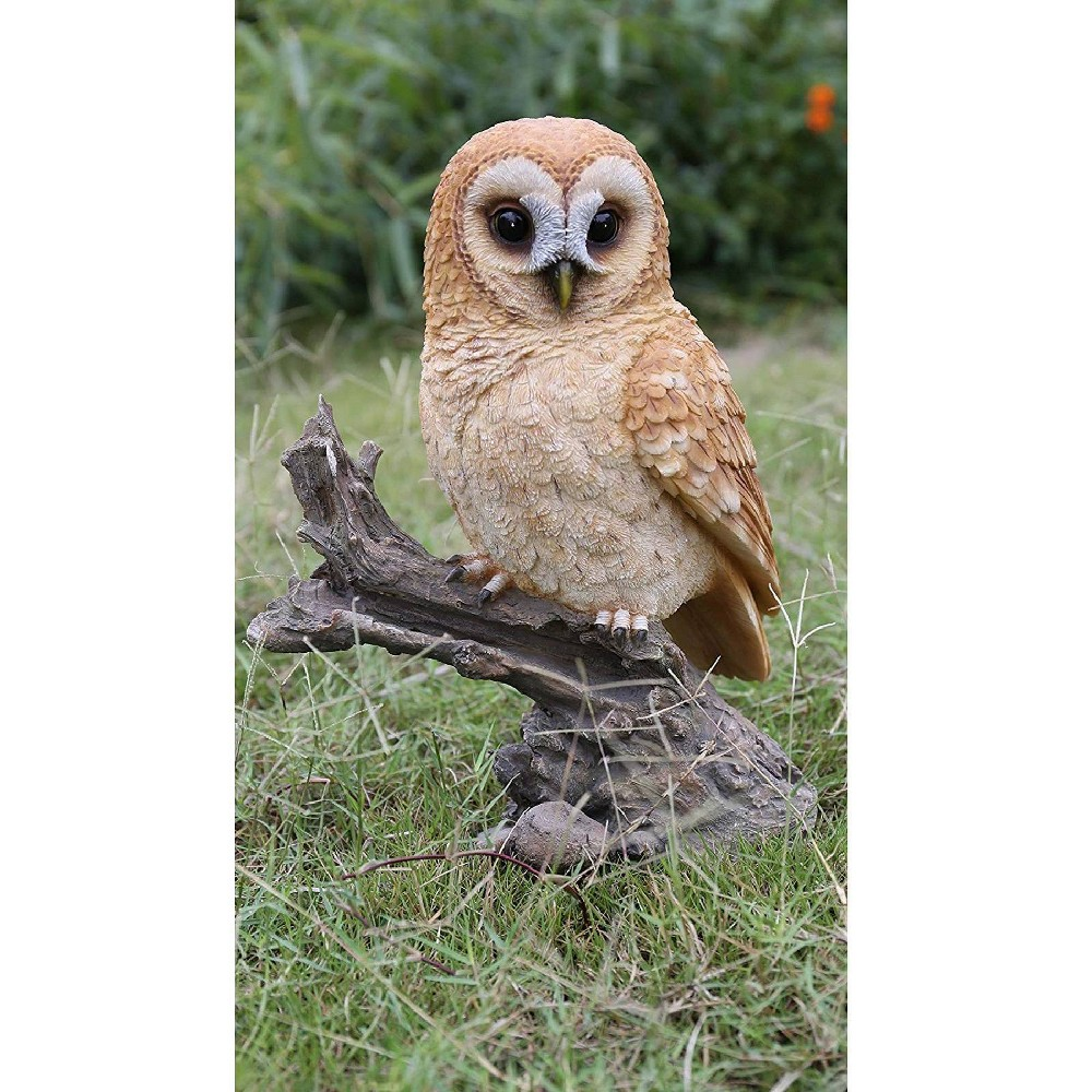 14 34 Polyresin Barn Owl On Branch Statue Brown Hi Line Gift