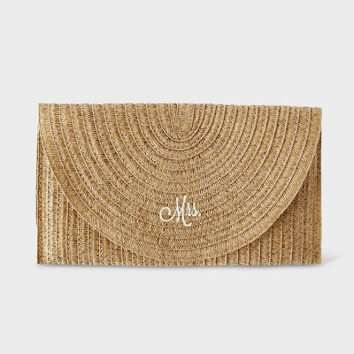 Mrs. Straw Envelope Clutch Brown - Cathy's Concepts