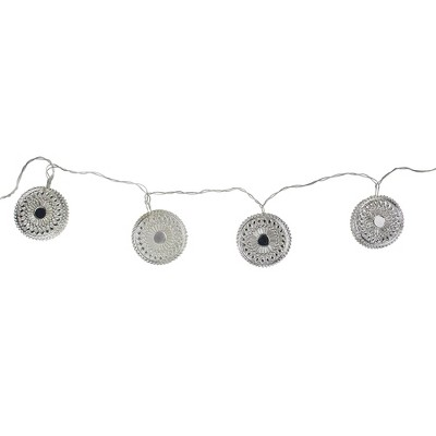 Ganz 10ct Dream Catcher Disk Novelty Christmas Lights Silver - 53' Clear Wire