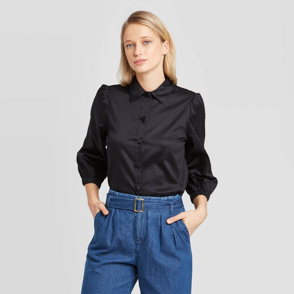 Women's 3/4 Sleeve Collared Femme Utility Blouse - Who What Wear Black XS, Women's was $29.99 now $20.99 (30.0% off)