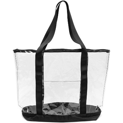 Clear Stadium Approved Tote Bag, Transparent Medium Handbag for Travel & Concert, 19x6 x13 inches