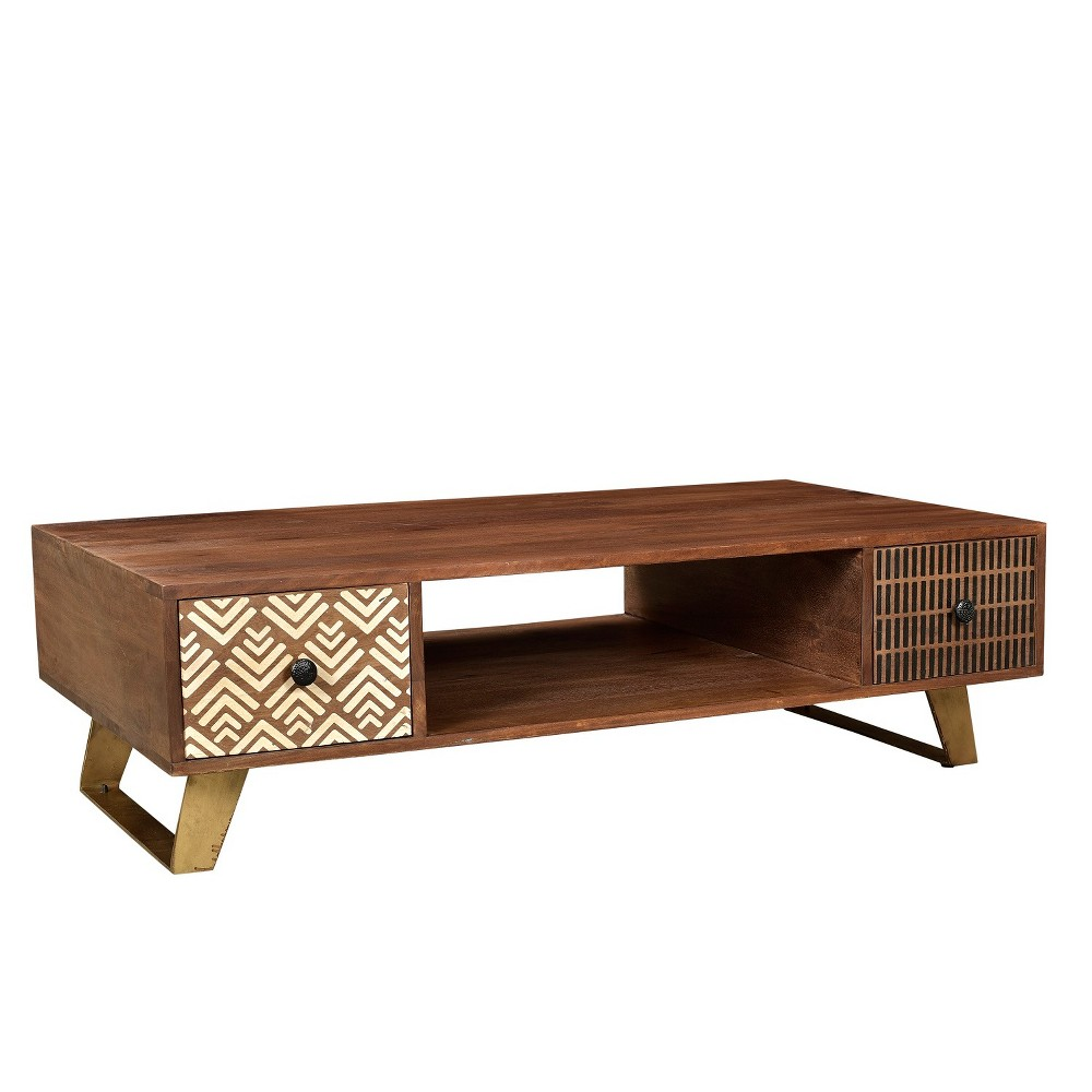 Olga Retro Coffee Table with Drawers Natural -Timbergirl