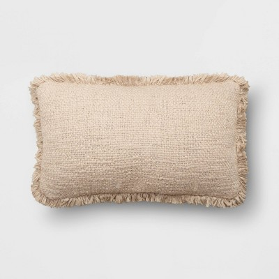 """14""""x24"""" Oversize Lumbar Throw Pillow with Fringe Neutral - Threshold™"""