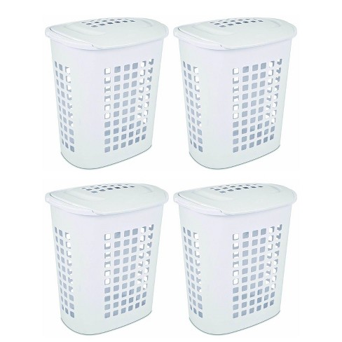 Sterilite Bushell 24 in Tall Lift Top XL Laundry Basket Hamper, White (4 Pack) - image 1 of 4