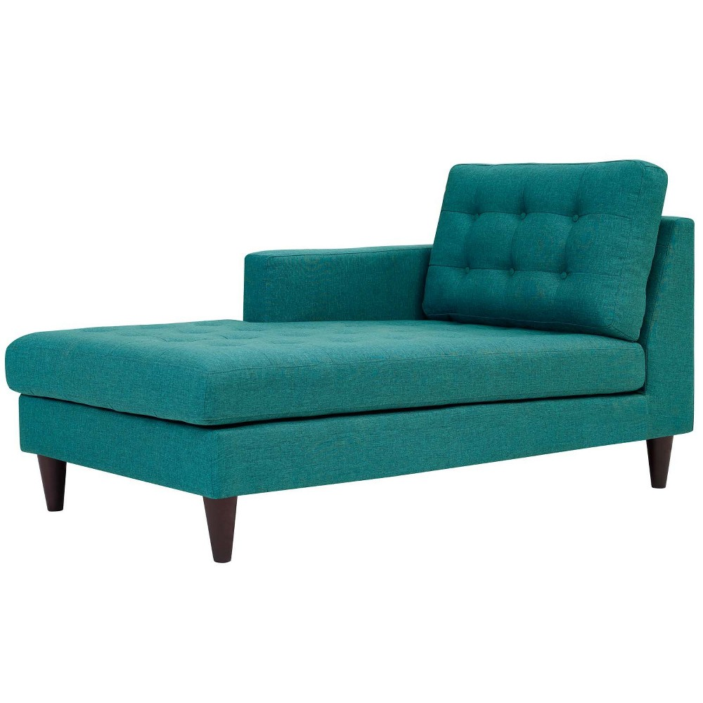Empress LeftArm Upholstered Fabric Chaise Teal (Blue) - Modway
