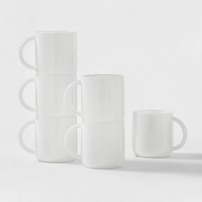 Glass Stackable Mugs 12.5oz White Set of 6  - Made By Design™