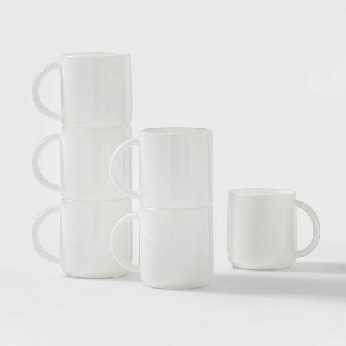 Glass Stackable Mugs 12 5oz White Set Of 6 Made By Design Target