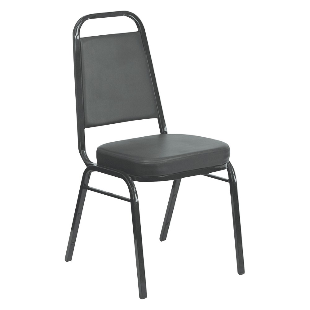 Iceberg Banquet Chairs with Trapezoid Back, Black/Silver, 4/Carton