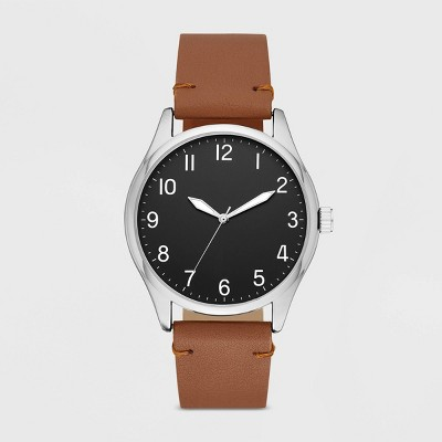 Men's Value Full Arabic Strap Watch   Goodfellow & Co Brown by Goodfellow & Co Brown