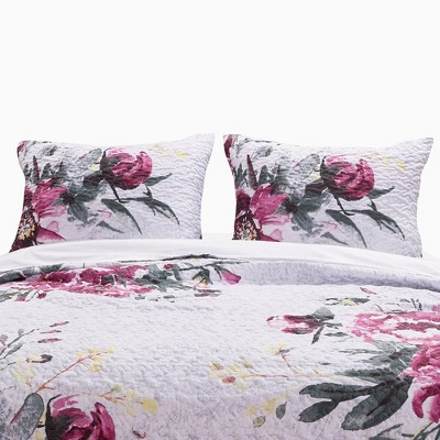 Greenland Home Fashion Rose Touch Floral Print Reversible Pillow Sham, Multicolor