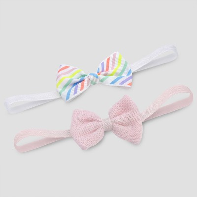 Baby Girls' 2pk Knit Rainbow Headwrap - Cloud Island™ White 0-9M